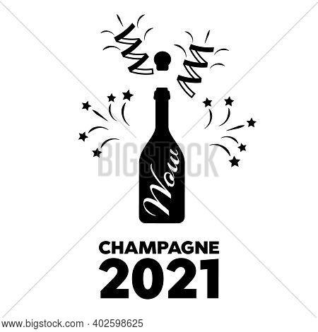 Glass Bottle Champagne Vector Icon. Champagne Logo Illustration