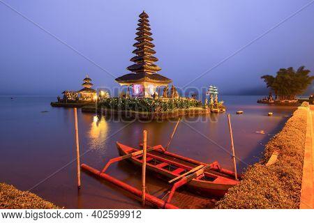 Pura Ulun Danu Bratan After Sunset, Temple On The Lake, Bedugul, Bali, Indonesia