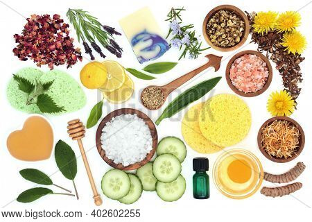 Natural skincare beauty treatment with organic products used to treat skin ailments including eczema, psoriasis, acne, sunburn and infections. Flat lay on white background.