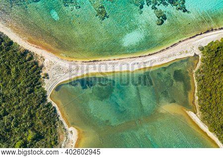 Beautiful Natural Bridge On Adriatic Sea On Dugi Otok Island In Croatia, Drone Aerial Overhead View