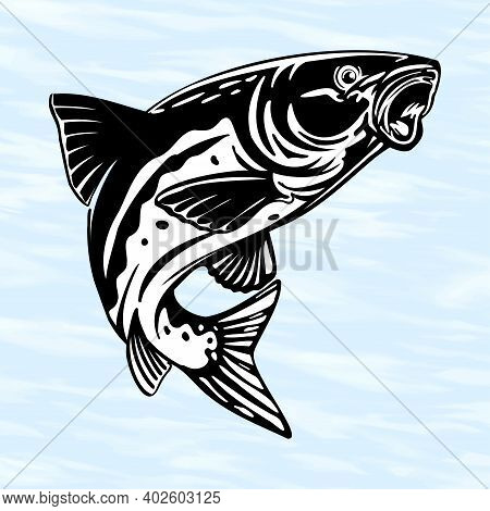 Fishing Logo, Fish Jumping Mid Air Isolated On White Background, Fishing Theme Illustration - Vector