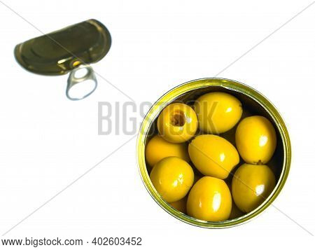 Green Olives In A Tin Can On A White Background. Green Olive Fruits. Olives Berries. Olive Fruits. V