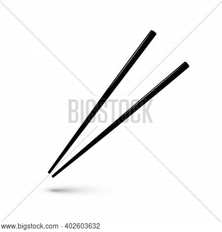 Black Wooden Chopsticks Flat Icon. Chopstick Element Asian Or Oriental Traditional Culture. Vector I