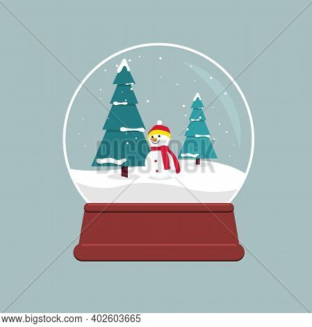 Snow Globe With Falling Snow, Snow Tree And Snowman Inside. Illustration In Flat Style