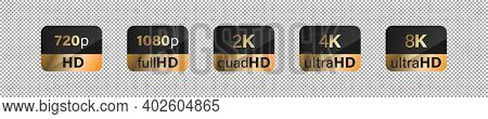 Hd Screen Definition Golden Label Sticker Vector Collection. Full, Quad, Ultra, 4k, 2k, 8k Emblem Co