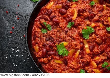 Vegetarian Vegan Mince Chili Con Carne Served In Cast Iron Skillet Pan