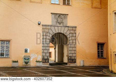 Podebrady Castle At River Labe, View From Inner Courtyard Side, Baroque Portal, Historical Spa Town,