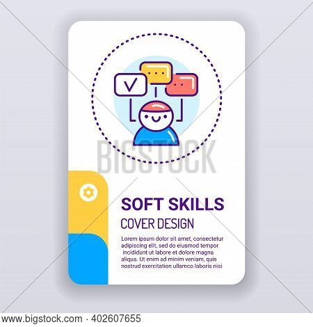 Soft Skills Brochure Template. Human Abilities Cover Design. Print Design With Linear Illustration C