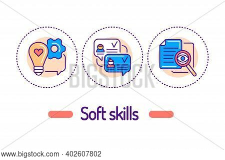 Soft Skills Outline Concept. Human Abilities Line Color Icons. Pictograms For Web Page, Mobile App,