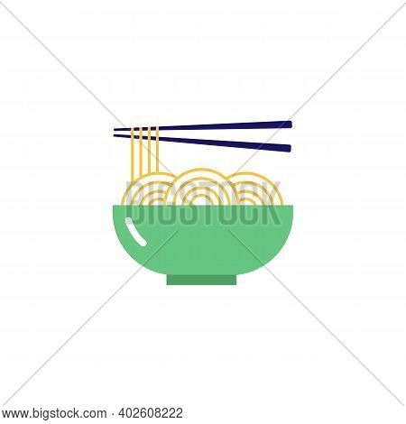 Noodles Icon. A Bowl Of Noodles And Chopsticks. Chinese And Asian Traditional Cuisine. Vector Icon I
