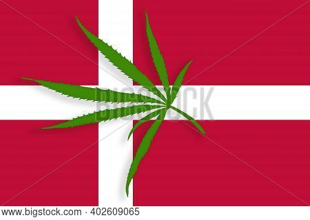 Denmark Flag With The Image Of Marijuana Leaves. Cannabis Legalization Concept In Denmark. Drug Poli