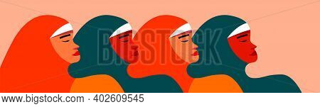 Five Arab Women Standing Together Announce Female Power. Feminist Union Or Sisterhood. Banner Concep