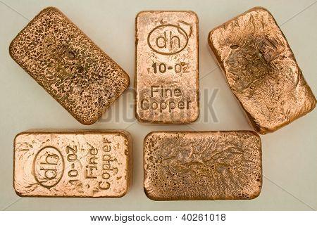 Copper Bullion Bars - Ingots