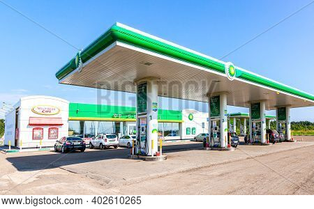 Novgorod, Russia - August 17, 2017: Bp Or British Petroleum Gas Station In Summer Day. British Petro