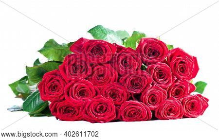 Beautiful Red Roses Bouquet Isolated On A White Background
