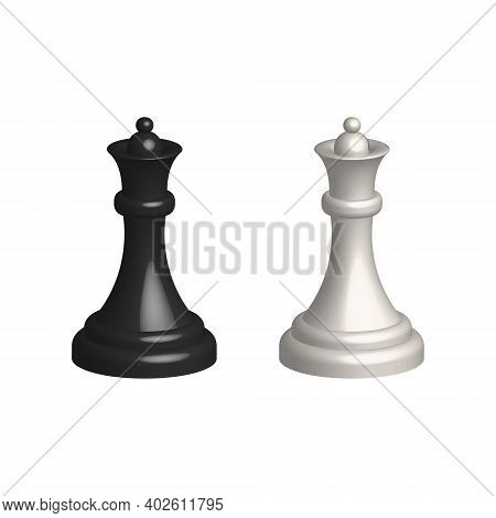 Chess Piece 3d Realistic Icon. Smart Board Game Elements. Chess Queen Black And White Silhouettes Ve
