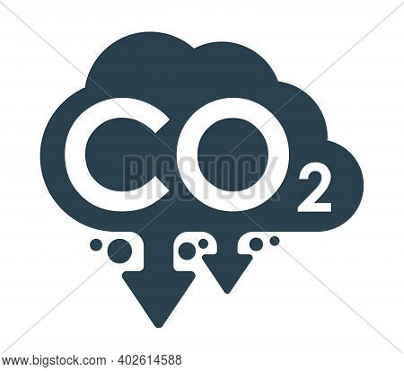Co2 Emissions Flat Icon - Harmful Air Carbon Dioxide Contamination Emblem In Cloud Form - Isolated V