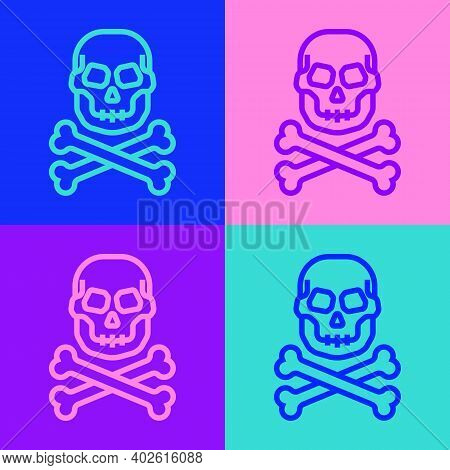 Pop Art Line Skull On Crossbones Icon Isolated On Color Background. Happy Halloween Party. Vector