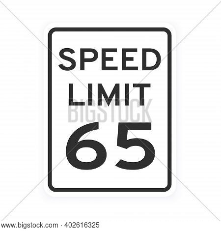 Speed Limit 65 Road Traffic Icon Sign Flat Style Design Vector Illustration Isolated On White Backgr