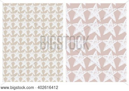 Lovely Seamless Vector Patterns With White Hand Drawn Stars Isolated On A Light Dusty Pink And Pale