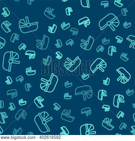 Green Line Baby Stroller Icon Isolated Seamless Pattern On Blue Background. Baby Carriage, Buggy, Pr