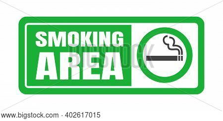 Smoking Area Sign. Green Circle Cigarette Icon Sign Isolated On White Background Vector Illustration