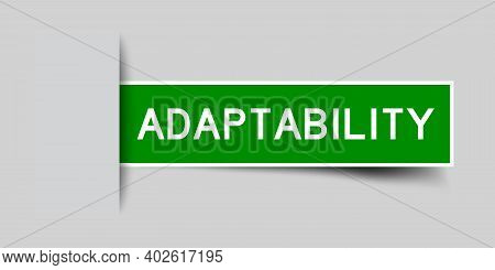 Inserted Green Color Label Sticker With Word Adaptability On Gray Background