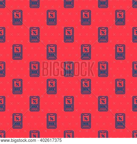 Blue Line Cruise Ticket For Traveling By Ship Icon Isolated Seamless Pattern On Red Background. Trav