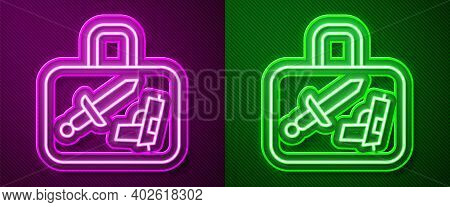 Glowing Neon Line Suitcase For Travel Icon Isolated On Purple And Green Background. Traveling Baggag