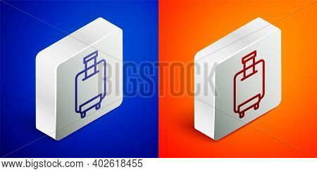 Isometric Line Suitcase For Travel Icon Isolated On Blue And Orange Background. Traveling Baggage Si