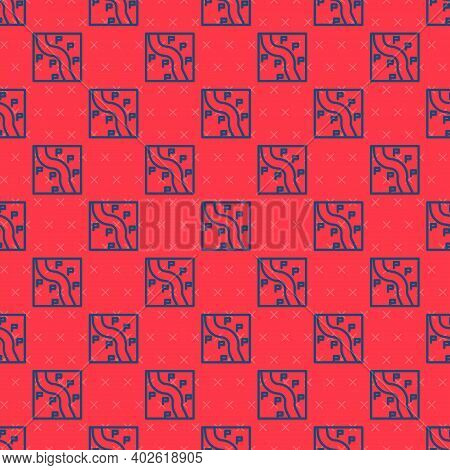 Blue Line Route Location Icon Isolated Seamless Pattern On Red Background. Train Line Path Of Train