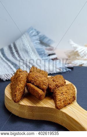 Homemade Croutons Close-up Of Dry Bread Crackers. Use Of Products. For No Waste