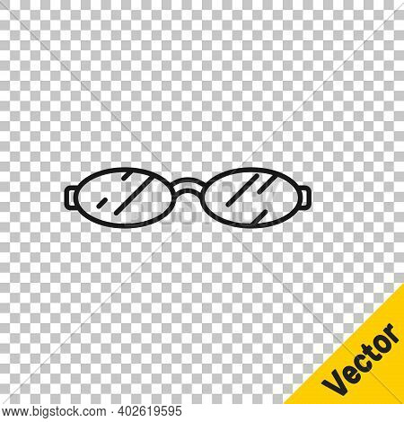 Black Line Eyeglasses Icon Isolated On Transparent Background. Vector
