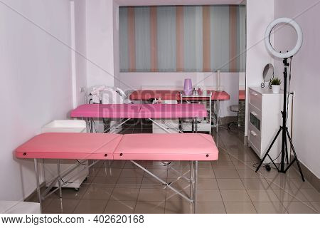 Cosmetology Office With Pink Couches Beauty Salon Physiologist Therapist Private Clinic. White Clean