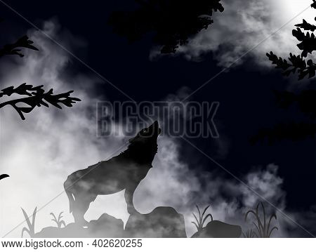 Wolf Howling At The Moon Inside The Deep Dark Mountain Forest. The Moon Is Shining On The Sky Throug