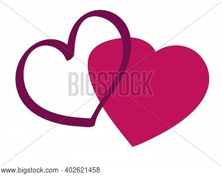 Valentine Day And Wedding. Two Love Hearts In Pink And Crimson Colors. Vector Simple Clip Art In Doo