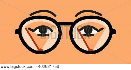 Misted Glasses. Glasses Lenses In The Fog. Wipers Cleaning Moisture From The Surface. Female Eyes An