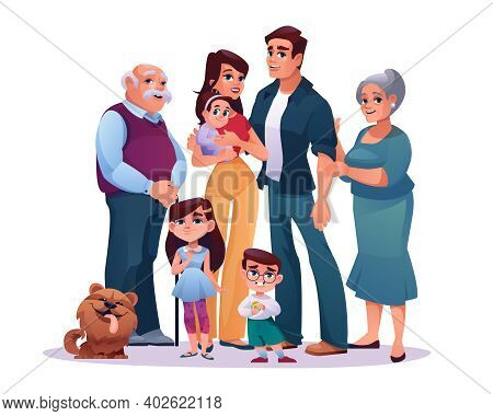 Big Family Parents, Grandparents And Children Isolated On White. Cartoon Mother And Father, Grandmot