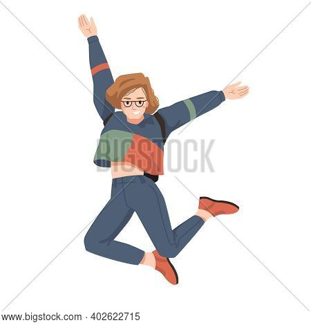 Smiling Girl In Glasses And Backpack Behind Her Back, Merrily Leaps Jumps With Hands Up. Woman In Ca
