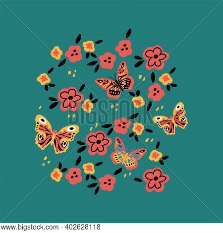 Spring With Butterflies And Flowers. Poster With Moths And Moths On A Background Of Flowers. Vector