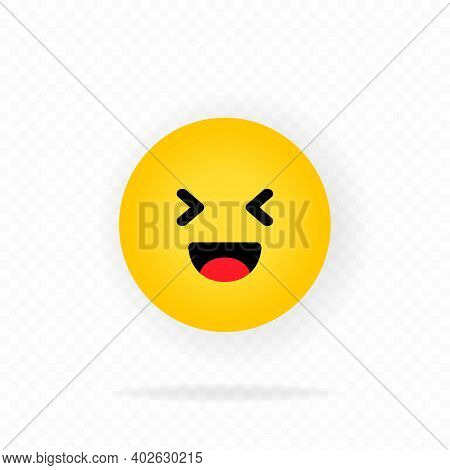Yellow Emoji Icon. Laugh. Laughing Emoji. Happy Face With Smile Emoticon. Chat, Comment, Reaction Em