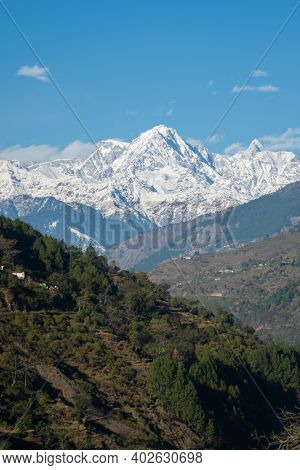 A Little Glimpse Of The Place Chopta In Uttarakhand With Snow Covered Mountains & Roads With Beautif