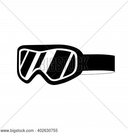 Snowboard Goggles Isolated On White Background. Flat Vector Illustration. Tourist And Sports Equipme