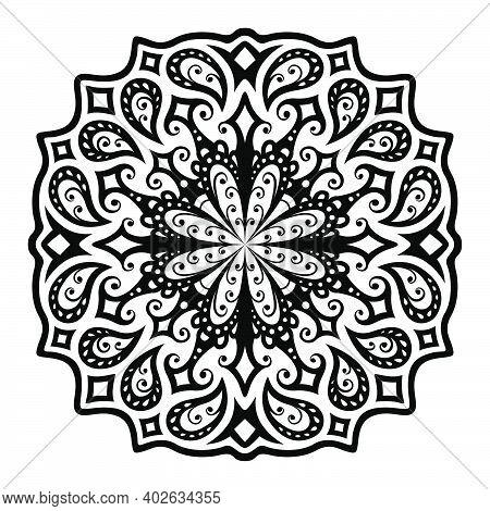 Beautiful Minichrome Illustration With Black Vintage Eastern Single Pattern Isolated Ob The White Ba