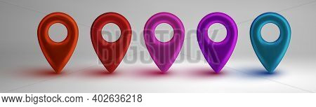 Colorful Map Pointers Set Isolated On White Background. Location Icons Concept. Gps 3d Pointer Big S