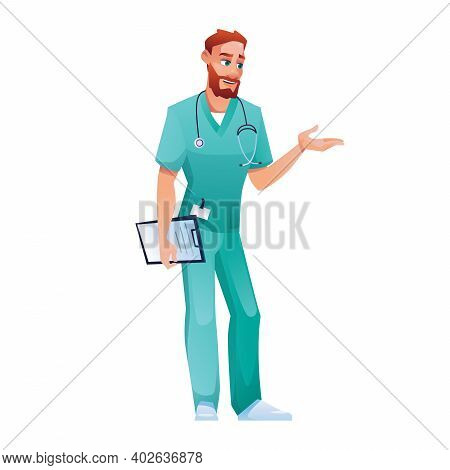 Practitioner In Blue Scrub Top And Pants, Speaking And Gesturing Isolated Doctor. Vector Medical Wor
