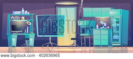 Medical Furniture Laboratory Equipment Beakers Room Interior Design. Vector Diagnostic Computers And