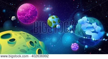Fantasy Universe, Galaxy With Planets And Celestial Bodies Made Of Craters And Ice. Panoramic View O
