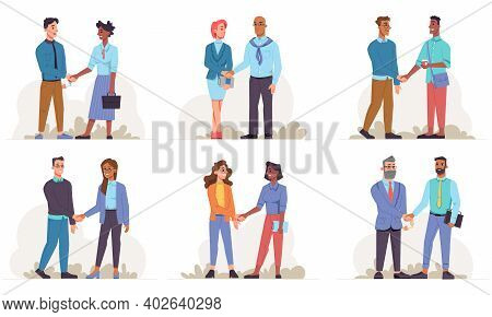Businessman And Business Woman Of Different Races Shake Hands Isolated Flat Cartoon People. Vector H