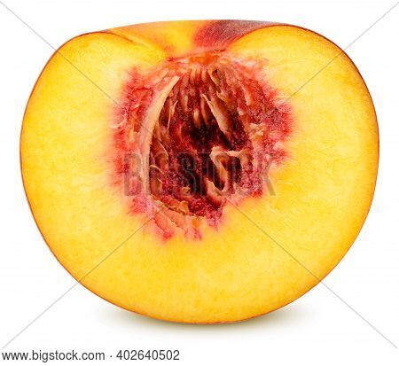 Isolated Peach. One Peach (nectarine) Fruit In The Cut Isolated On White Background With Clipping Pa